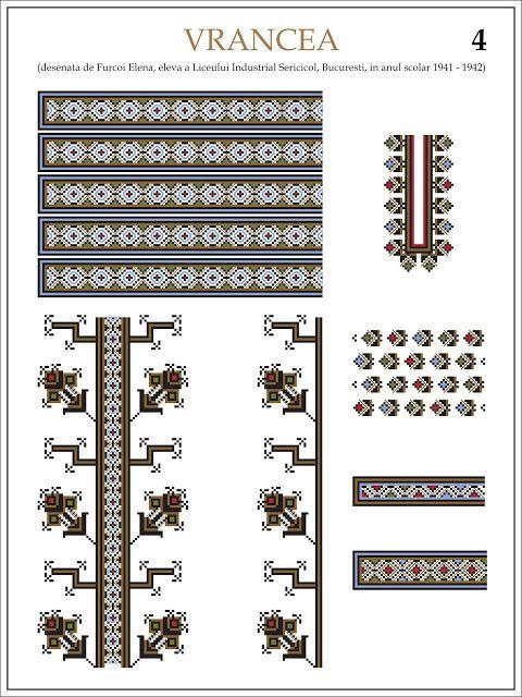 Semne Cusute: ie din VRANCEA (4)  Modele de ii Romanesti din caietul elevei Furcoi Elena, de la Liceul Industrial Sericicol Bucuresti, care a desenat aceste planse in clasa a VIII-a, anul scolar 1941 - 1942