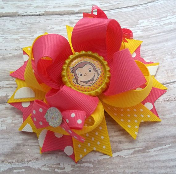 Pink And Yellow Curious George Hair Bow  by JustinesBoutiqueBows