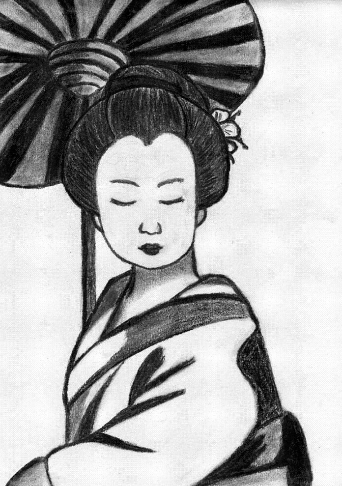 Geisha ombrelle noir et blanc chignon manga japon dessin - Dessin noir et blanc ...