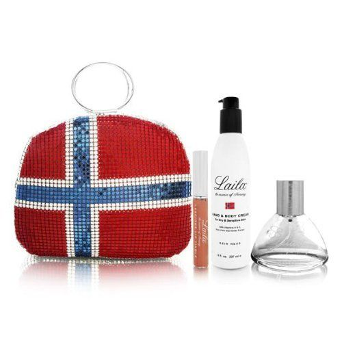 Laila by Laila for Women 4 Piece Set Includes: 3.4 oz Eau de Parfum Spray + 8.0 oz Hand & Body Cream + 0.17 oz Lucious Lip Tingle + Norway's Flag Bag Purse by Laila. $100.00. Buy Laila Gift Sets - Laila by Laila for Women 4 Piece Set : 3.4 oz Eau de Parfum Spray + 8.0 oz Hand & Body Cream + 0.17 oz Lucious Lip Tingle + Norway's Flag Bag Purse. How-to-Use: For long-lasting effects fragrance should be applied to the body's pulse points. These include the wrist, behind the ea...