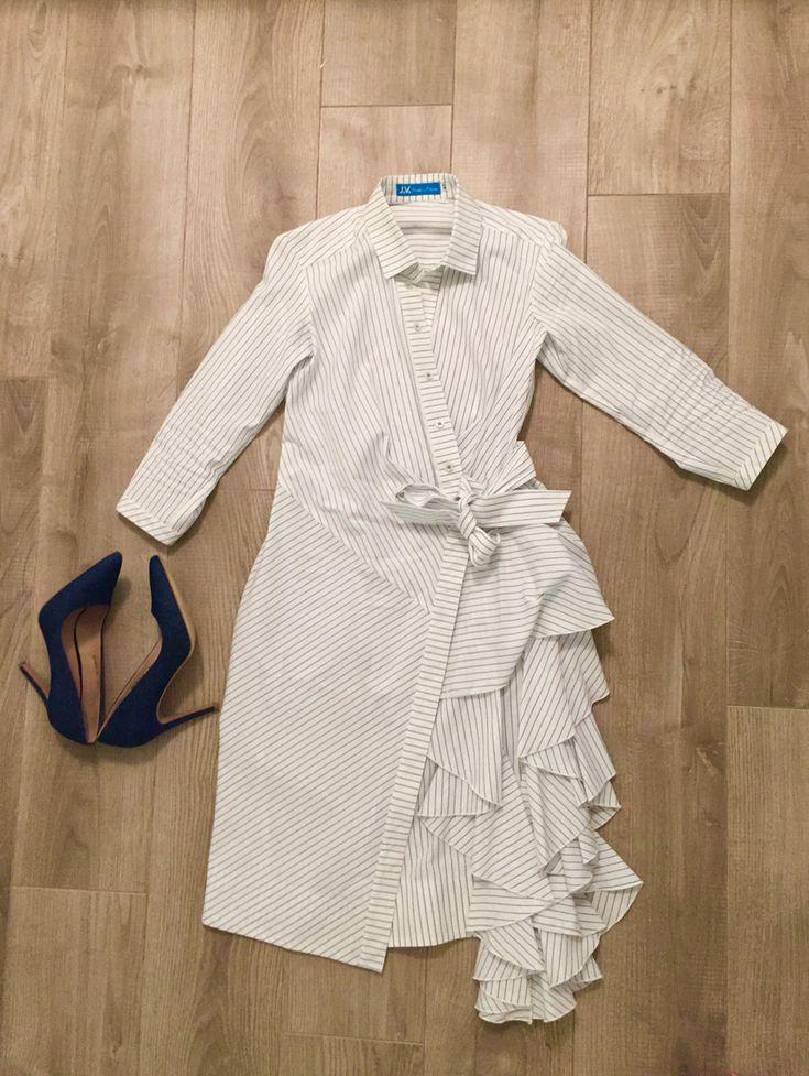 Дизайнерское платье с запахом и джинсовые туфли