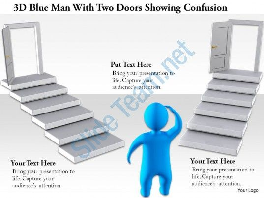 1114 3d blue man with two doors showing confusion ppt graphics icons Slide01