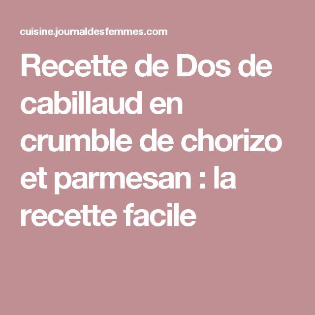 Recette de Dos de cabillaud en crumble de chorizo et parmesan : la recette facile