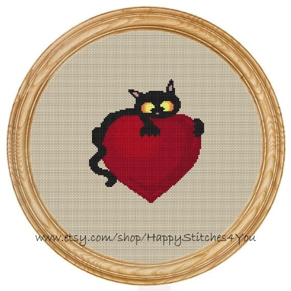 Cross Stitch Pattern PDF heart and cat DD0146