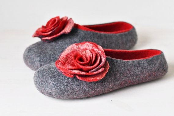 Felted slippers for women  Gray & Red  Made to by ShpilkaFelt, $65.00