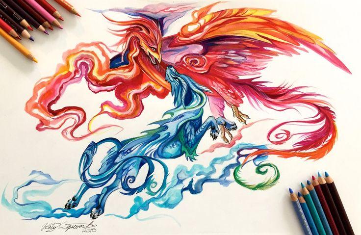 131- Kirin and Phoenix by Lucky978.deviantart.com on @DeviantArt