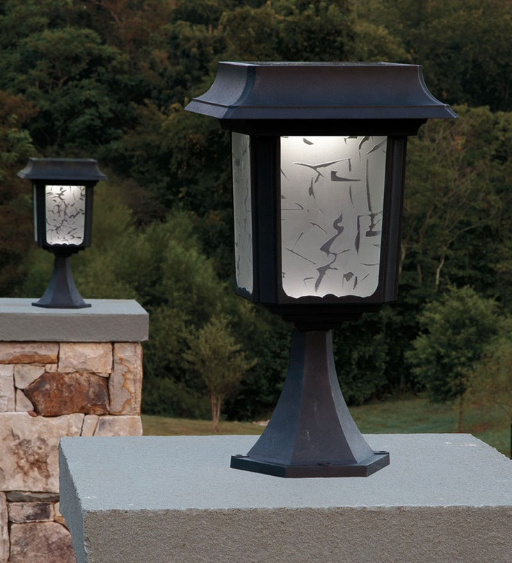 solar powered post lamps. On Plow and Hearth (they have