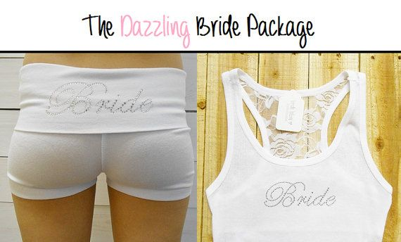 Bride Yoga Shorts and Bride Tank Top Package. Bridal Yoga Shorts. Bridal Tank Top. Wedding Clothing. Honeymoon Shorts. Just Married Shorts.
