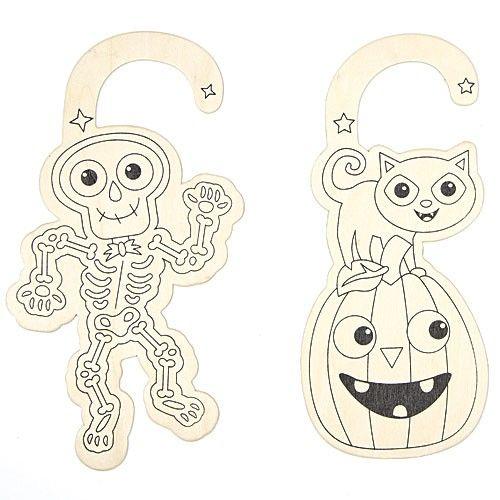 Houten deurhangers om in te kleuren, halloween