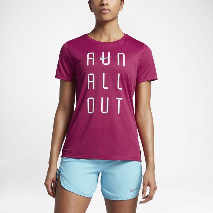 "Nike Dry ""Run All Out"" Women's Running T-Shirt Size Medium (Purple)"