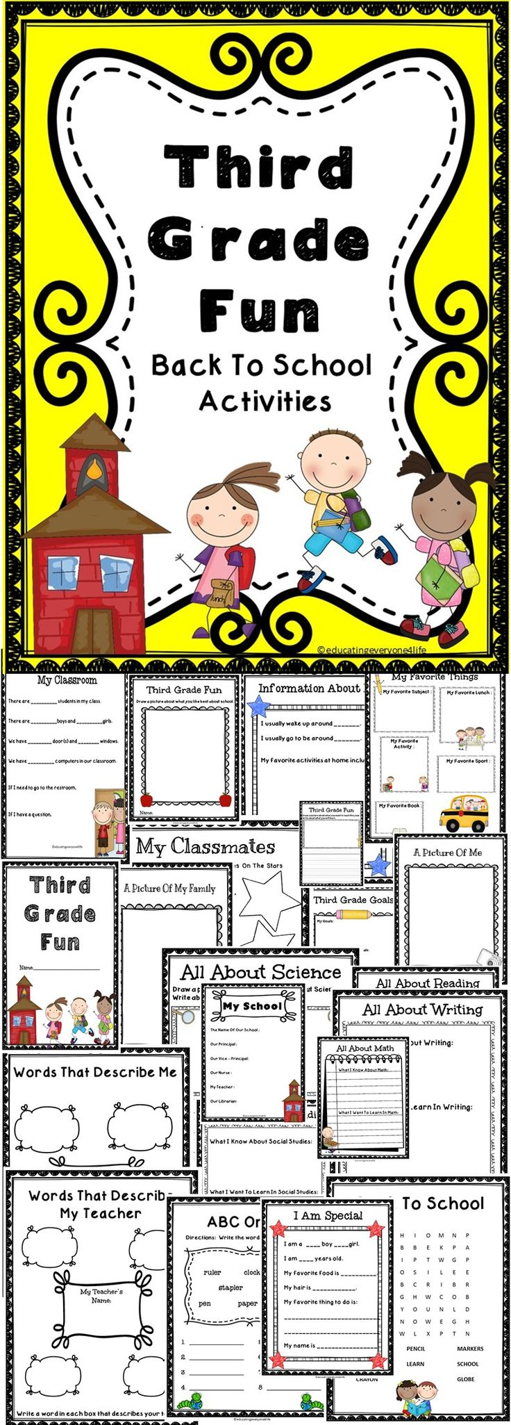 Third Grade Fun - A fun back to school activity book for third graders. #education