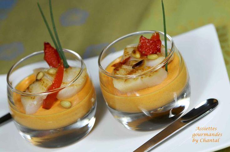 Panna cotta de poivrons rouges et Saint-Jacques snackées