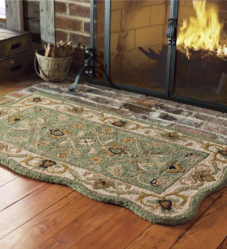 Fireplace Rug Ideas: Hand-Tufted Fire Resistant Scalloped Wool McLean Hearth