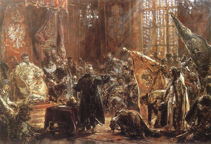 Painting by Jan Matejko in 1892 of Tsar Vasily-Vasili IV Ivanovich-Ioannovich Shuyskiy-Shuisky (1552-1612) at the parliament of Poland in Warsaw. He was not recognized as Tsar by the Russian people. Even in Moscow he had little or no authority & he only avoided deposition by the boyars because they had no one to replace him with.