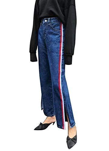 978085c1ae Pantalones Vaqueros Delgados De Mezclilla De De Las Mujeres Bastante  Pantalones La Raya Lateral Divididos Pantalones