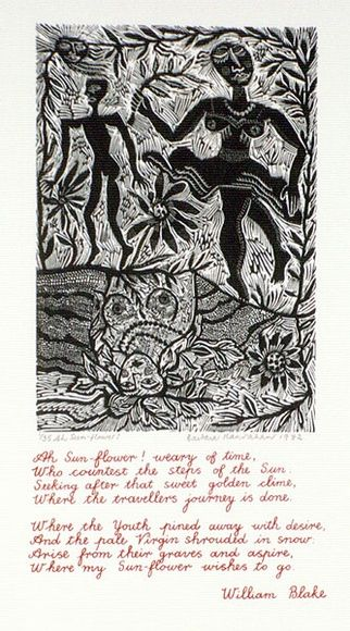 Artist: HANRAHAN, Barbara | Title: Ah Sun-flower! | Date: 1982 | Technique: wood-engraving, printed in black ink, from one block; screenprint, printed in red ink, from one stencil