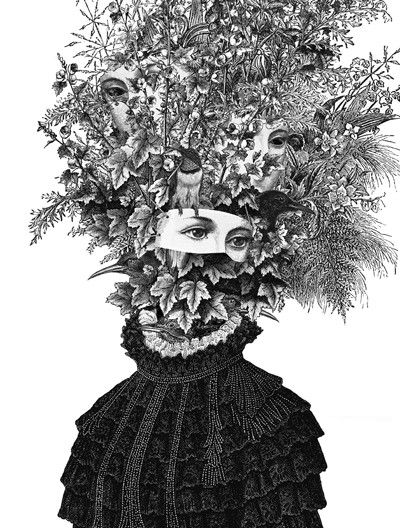 Artist Dan Hillier - Victorian portraits with organic, fantastical headdresses.  multiple stares.