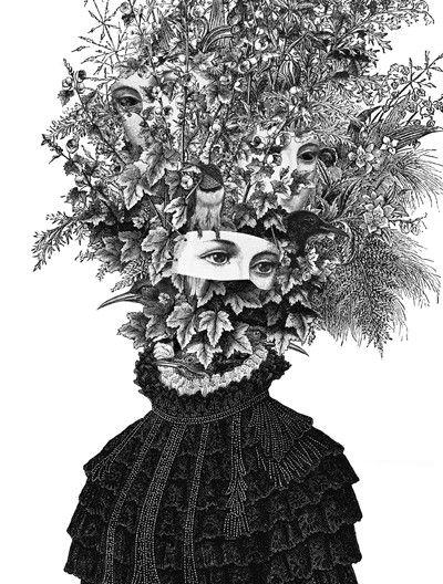 Artist Dan Hillier - Victorian portraits with organic, fantastical headdresses.  multiple stares.