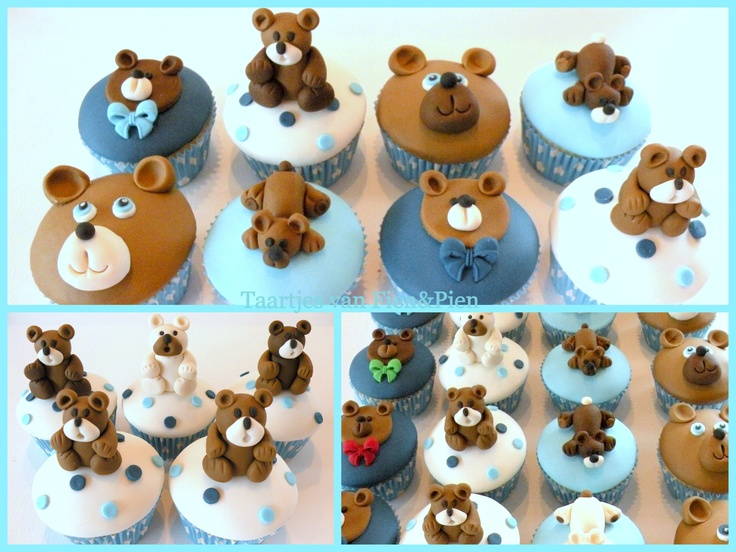 Teddybear cupcakesBeautiful Cupcakes, Bears Hug, Food Birthday Cake, Cupcakes Ideeën, Teddybear Cupcakes, Parties Food Birthday, Cake Decor, 1St Birthday, Fien Piene Cake