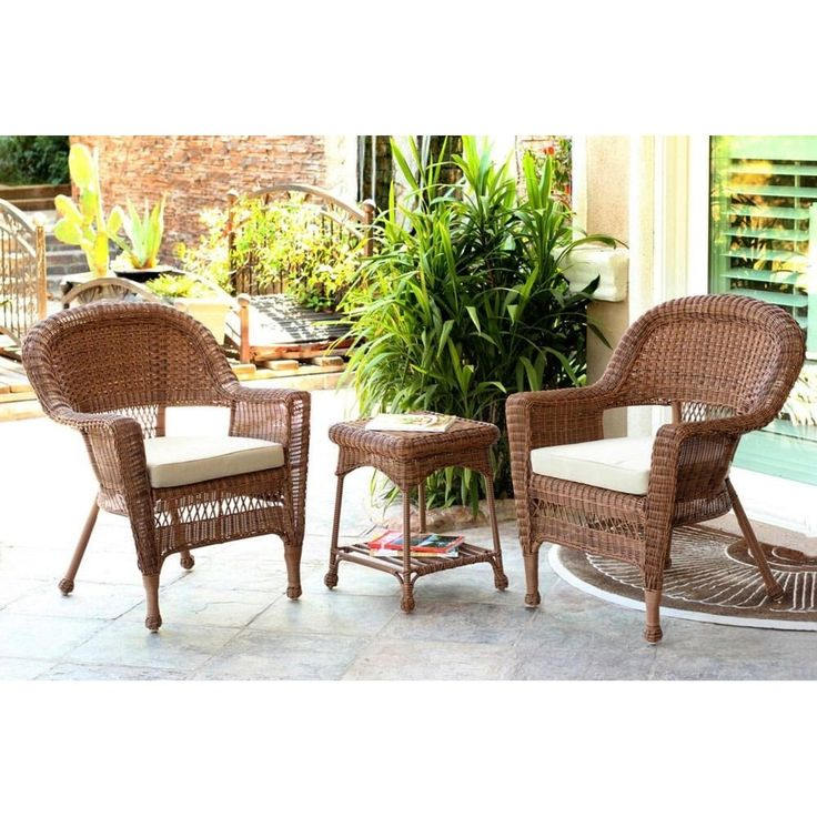 Jeco 3 Piece Honey Brown Resin Wicker Patio Chairs And End Table Furniture  Set   Part 76