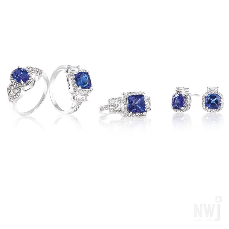 Diamond Collection: Diamond and Tanzanite Rings and Earrings Set In 18ct White Gold *Valid for 2013