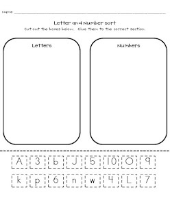 FREEBIE!!! Number and Letter Sort, Uppercase and lowercase sort, math worksheet: matching dots to corresponding number
