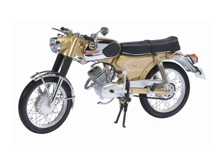 Schuco 1:10 Zundapp KS Diecast Model Motorcycle 06616 This Zundapp KS 50 Super Sport Diecast Model Motorcycle is Gold and features working steering, wheels. It is made by Schuco and is 1:10 scale (approx. 21cm / 8.3in long). #Schuco #ModelMotorbike #Zundapp #MiniModelBikes