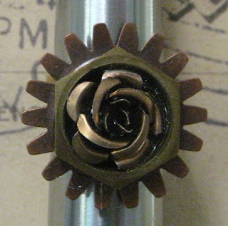 Adjustable brass band hand made ring with cog and metal rose