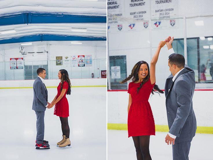 Ice skating rink engagement photo