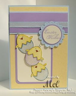 Love the lavender and yellow background on this handmade Easter card.  And the chicks couldn't be cuter, popping out of their bedazzled egg shells.