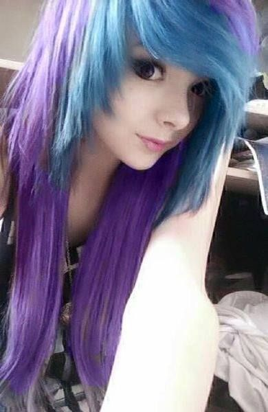 Light blue and purple hair