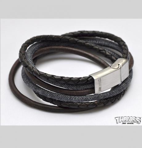 THOMSS for men - ARMBAND | Lederen armband van Thomss met gepolijste sluiting. Past perfect bij jeans | http://www.sieradenstyle.nl/thomss-armbanden #thomss #armbanden #leder #jeans