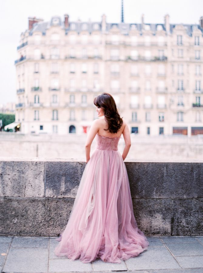 Dreamy blush gown: http://www.stylemepretty.com/2016/04/24/youll-never-believe-what-this-bride-to-be-wore-for-her-e-sesh/ | Photography: Le Secret D'Audrey - http://lesecretdaudrey.com/