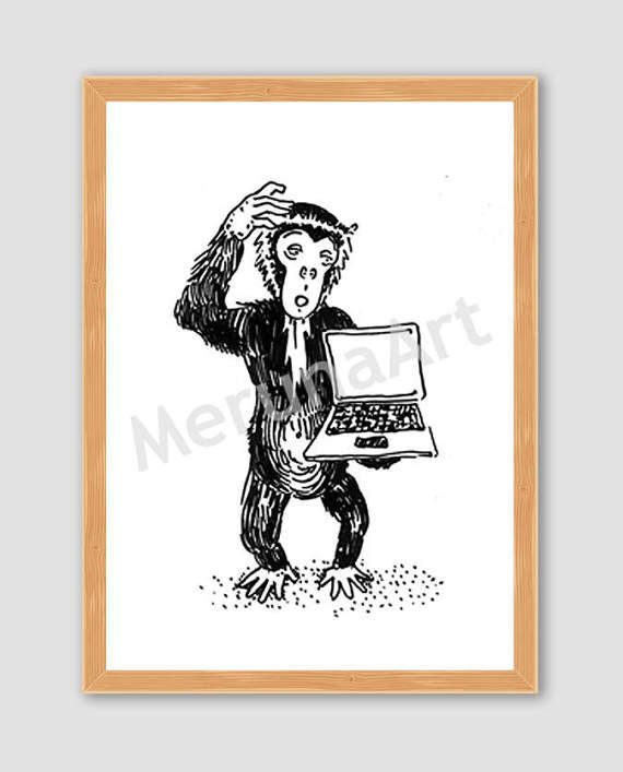 Stupid Monkey Funny Animal With Laptop Drawing by MerunaArt #humanized #animal #monkey #drawing #illustration