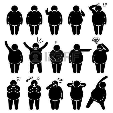 obésité: Fat Man action Poses Postures Stick Figure pictogrammes Icônes