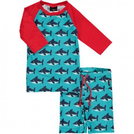 Swimwear set, swimtrunks and swimshirt, UV-protection, sharks turquoise, Maxomorra