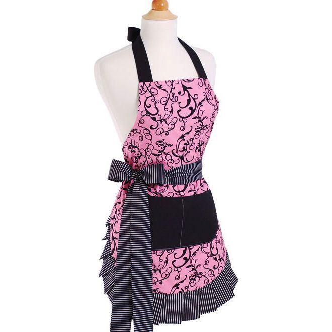 Women's Aprons | Chic Pink | The French Shoppe The Chic Pink apron was Damask inspired with swirls and Classic Pink. The masquerade themed apron was designed to be durable and elegant.