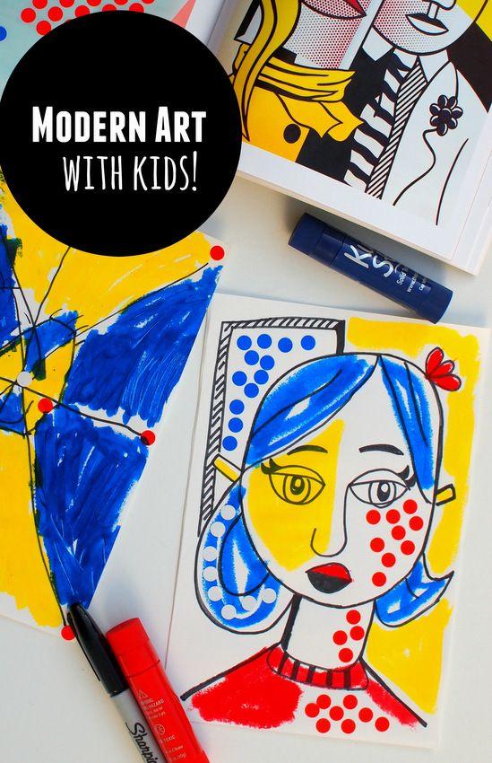 Making Lichtenstein-inspired Modern Art with kiddos!