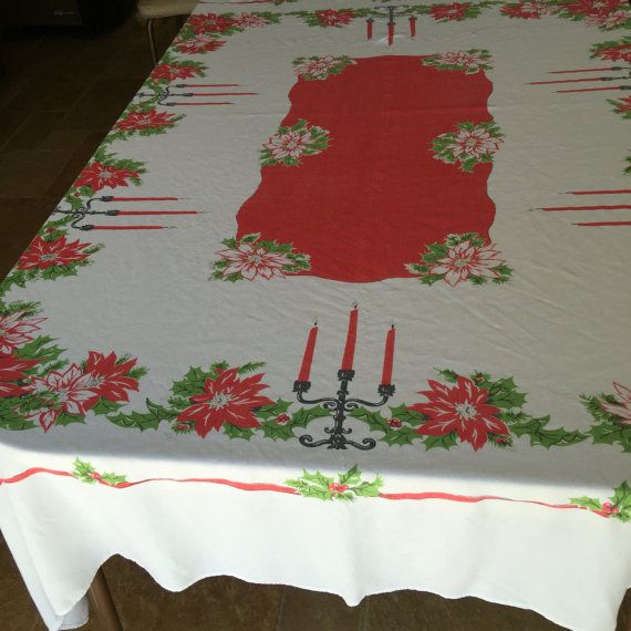 Christmas Oblong Tablecloth Vintage Xmas By RetroResaleSanDiego · Christmas  Table ClothChristmas ...