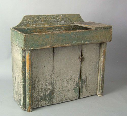 """Painted pine drysink, early 19th c., retaining an old gray over green surface, 36"""" h., 39"""" w."""