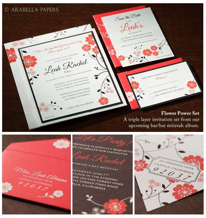 Adorable whimsical coral red flowers with leaves