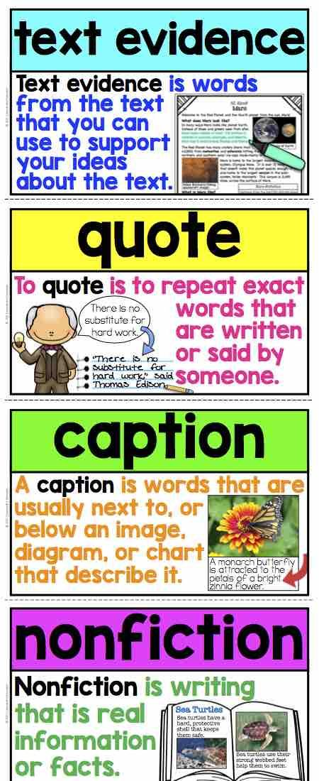 Nonfiction Word Wall Cards or Flashcards! Student-friendly definitions with visuals make these the perfect support for your students in reading nonfiction! This reading word wall is a must have for your classroom!  Includes all nonfiction text structures and nonfiction text features posters or flashcards!