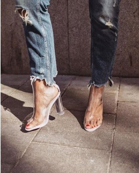 Transparent Chunky Heel Peep-toe Zipper Sandals  208733ff4763