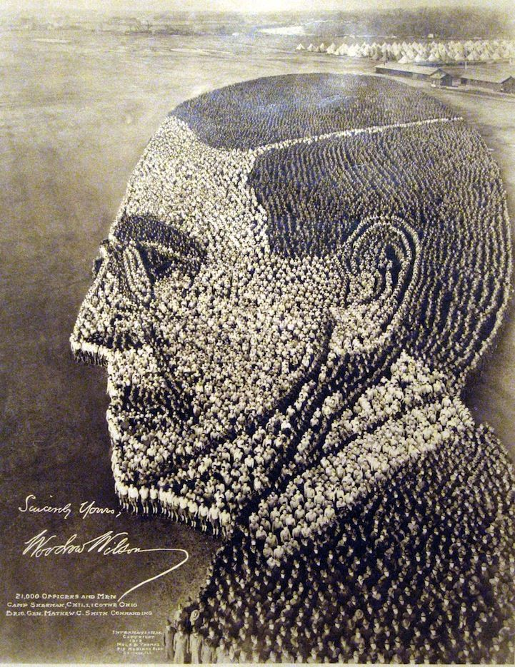 Giant human sculpture of Woodrow Wilson from 1918.: Woodrow Wilson, Art, U.S. Presidents, President Woodrow, 1918, Camp Sherman, Photo