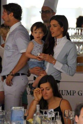 Charlotte Casiraghi with son Rapahel as they attends the 2015 edition of the Jumping International of Monaco horse jumping competition as part of the Global Champions Tour on June 26, 2015 in Monaco