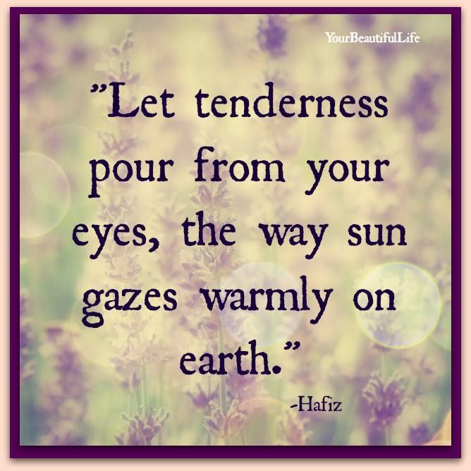 Let tenderness pour from your eyes, the way sun gazes warmly on earth. ~ Hafiz