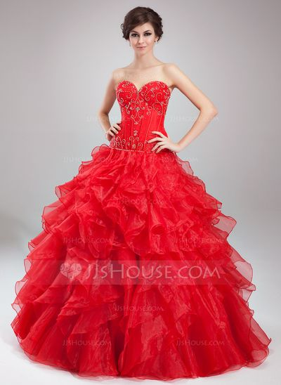 Quinceanera Dresses - $219.99 - Ball-Gown Sweetheart Floor-Length Organza Satin Quinceanera Dress With Beading (021004664) http://jjshouse.com/Ball-Gown-Sweetheart-Floor-Length-Organza-Satin-Quinceanera-Dress-With-Beading-021004664-g4664?ver=n1ug2t&ves=vnlx6