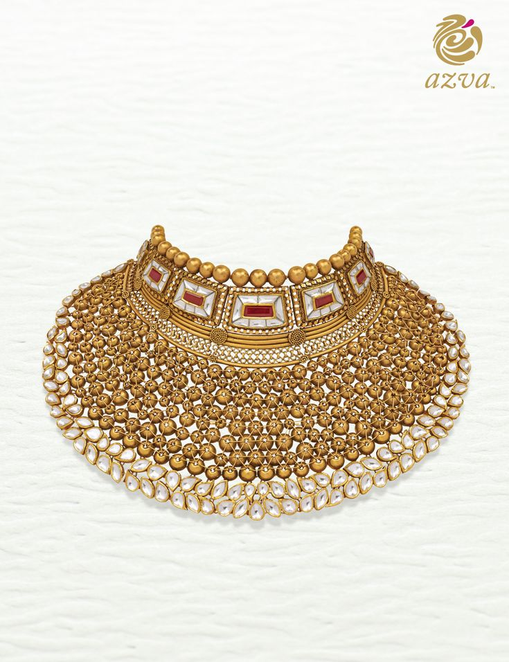 Azva contemporary showstopper handcrafted with intricate gold wire and engravings.  #Goldjewellery #luxury #style