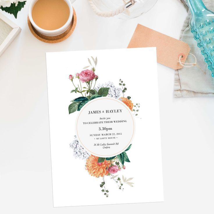 Vintage Botanical Wedding Invitations – Clover by Sail and Swan Wedding Invites Australia Floral Flowers Pink Orange White Peach