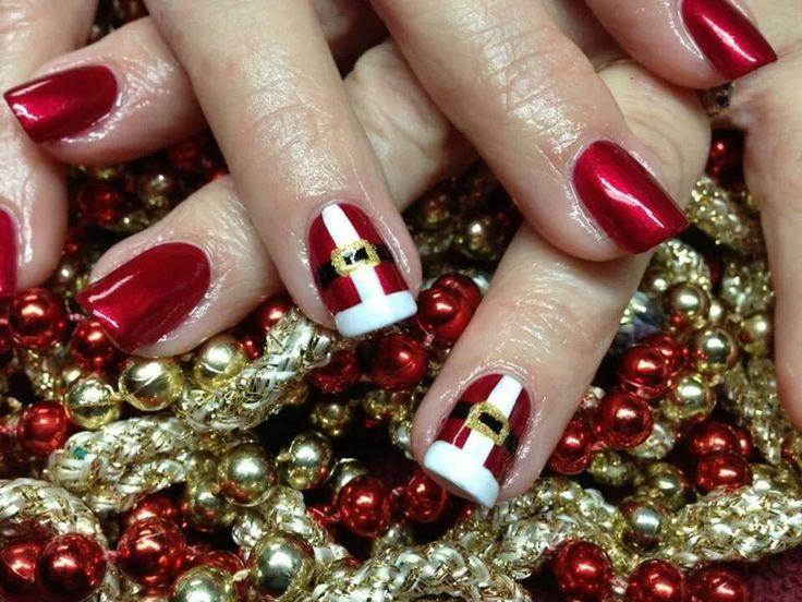 christmas Santa nails